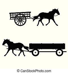 caballo, vector, silueta, carruaje
