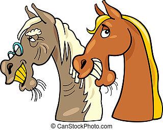 caballo, viejo, joven, uno