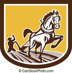 caballo, woodcut, granja, arado, retro, granjero, cresta
