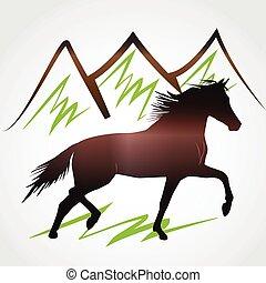 caballo, y, montañas, logotipo, vector