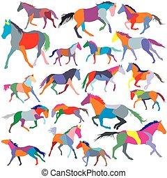 caballos, Conjunto, colorido, Siluetas, vector, Trotar,...