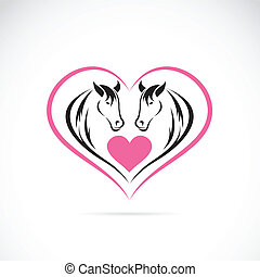 caballos, corazón, imagen, dos, forma,  vector