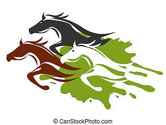 caballos, corriente, tres