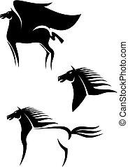 caballos, emblemas, negro
