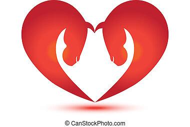 caballos, forma corazón, vector