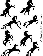 caballos, heráldico, silueta, vector, iconos