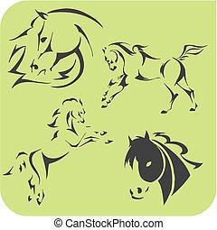 caballos, luz, set., -, vector, vinyl-ready.