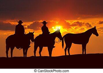 caballos, vaqueros, ocaso, debajo