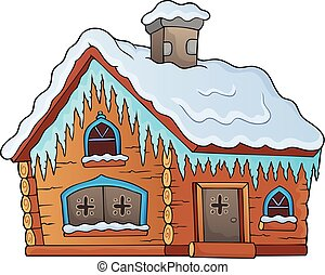 cabana, 1, tema, inverno, imagem