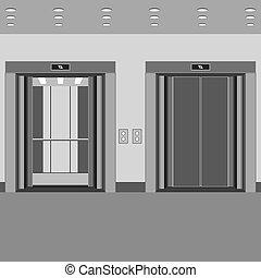 cabana, abertos, portas elevador, fechado