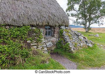 cabana, em, culloden, campo batalha