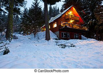 cabana, em, madeiras, em, anoitecer