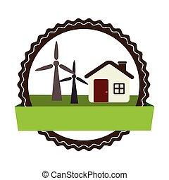 cabana, eolic, turbinas, paisagem, circular