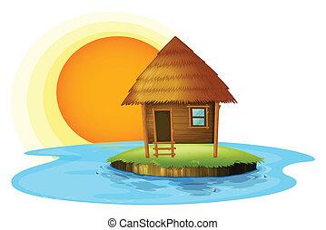 cabana, ilha, nipa