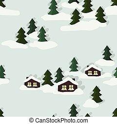 cabana, paisagem inverno