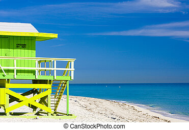 cabana, praia, praia miami, flórida, eua