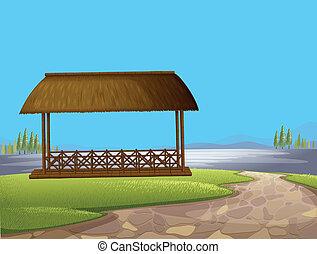 cabana, rua, nativo