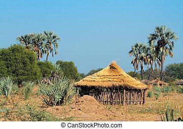 cabana,  rural, africano