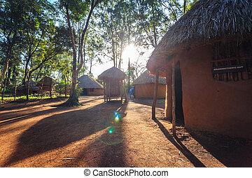 cabana, tradicional, tribal, kenyan, pessoas
