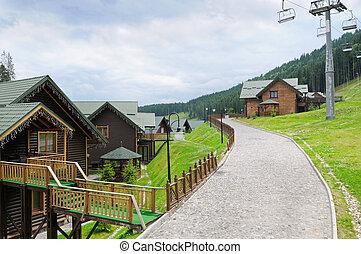 cabanas, elevador cadeira, em, carpathian, montanhas