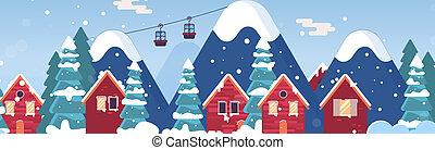 cabanas, set., neve, lar, rural, caricatura