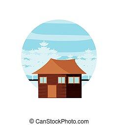 cabane rondins, bois, dans, cadre, circulaire