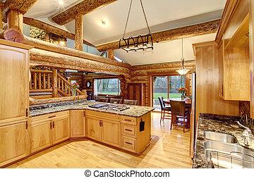 Grand cuisine cabane rondins interior island b che - Cuisine couleur miel ...
