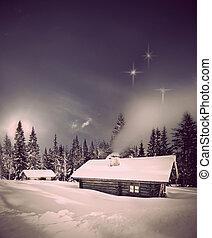 cabane rondins, dans, hiver