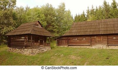 cabane, rustique, deux, bois, houses.