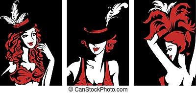 cabaret, aftekenmal, meiden, artiest