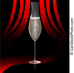 on dark red background is a large glass of champagne, inside a silhouette of dancer burlesque