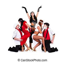 cabaret, danseur, équipe, habillé, dans, vendange, costumes