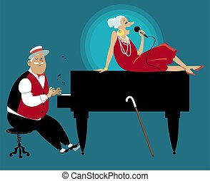 Senior couple performing on stage, playing piano and singing,  EPS 8 vector illustration