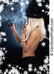 cabaret girl with cigar, grenade and snowflakes
