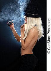 cabaret, meisje, met, sigaar, en, granaat