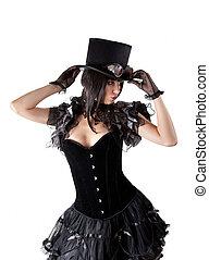 cabaret, niña, en, sombrero superior
