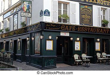Cabaret restaurant La Bonne Franquette. Corner rue des Saules and rue Saint Rustique in Paris, France.