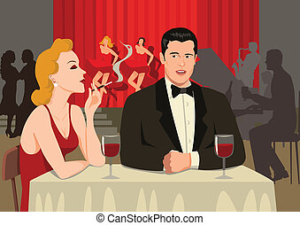 Stock illustration of a couple watching cabaret show at the restaurant