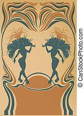 Design of burlesque retro poster cute samba dancer
