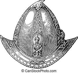 Cabaset peaked or helmet vintage engraving - Cabaset peaked...