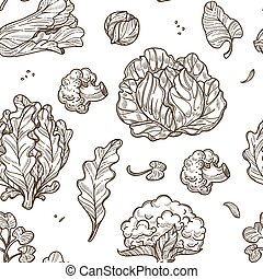 Cabbage and broccoli, cauliflower and lettuce leaves seamless pattern