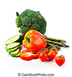 cabbage broccoli with tomatoes and green leaves