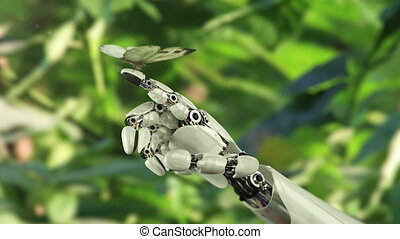 Cabbage Butterfly Lands on the Robot's Hand. Beautiful 3d...