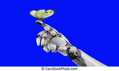 Cabbage Butterfly Lands on the Robot's Hand on a Blue...