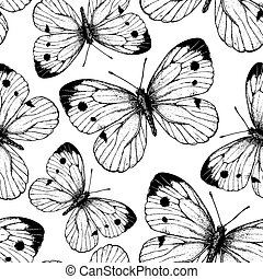 Cabbage butterfly pattern - Seamless vector pattern with...
