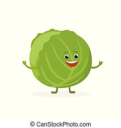 Cabbage cartoon character isolated on white background. Healthy food funny mascot vector illustration in flat design.