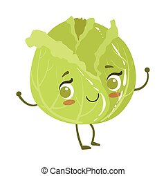 Cabbage Cute Anime Humanized Smiling Cartoon Vegetable Food Character Emoji Vector Illustration