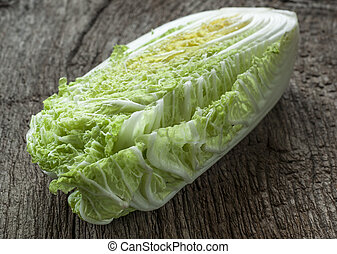 cabbage - fresh cabage on old wooden background