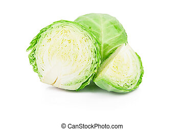 Cabbage - Fresh young green cabbage isolated on white...