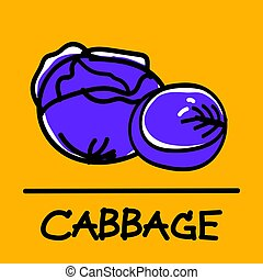 cabbage hand-drawn style,Vector illustration.